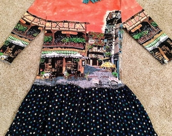 Upcycled tunic top French Street Cafe size S-M polka dots refashion artsy