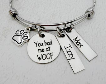 Personalized Dog Lover - You Had Me At WOOF Bangle Bracelet or Necklace - Dog Lady Jewelry