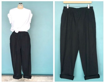 """Black Elastic Waist Baggy Trousers, High Waisted Loose Trousers Baggy Pants Relaxed Pants Lounge Pants  29"""" Waist Large Plus Size"""