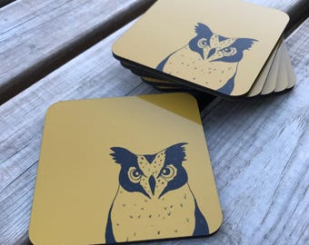 Mustard, owl hardwood cork backed coasters 95mm x 95mm (pack of 6)