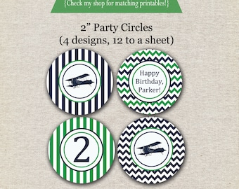 Vintage Airplane Party Circles - navy and green | Vintage Airplane Cupcake Toppers | Airplane Stickers | Airplane Party Printables | Aviator
