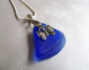 Statement Necklace - Butterfly Bail - Sea Glass Pendant - Cobalt Blue - Beach Glass Pendant - Beach Glass Jewelry - Ocean Jewelry Gifts