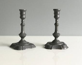 Danish Pewter Toned Candlestick Holders / Danish Candlesticks / Mid Century Danish Candleholders Pair of 2