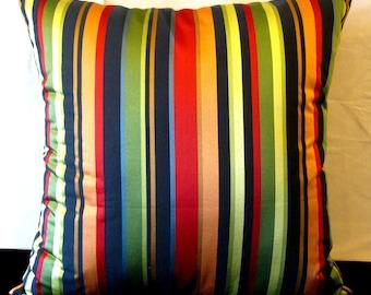 Red black green orange Stripe pillow cover 24 X 24