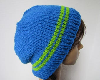 Blue Slouchy Knit Beanie with Green Stripes