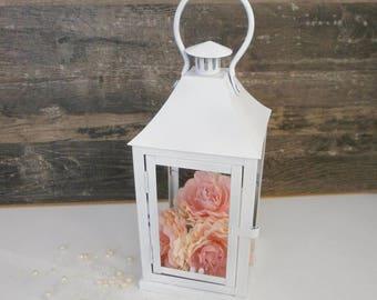 White Rustic Lantern Wedding Lantern Rustic Wedding Centerpiece Vintage Home Decor Rustic Candle Holder Shabby chic decor