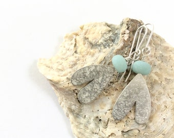 Blue Amazonite and silver Snowdrop Earrings