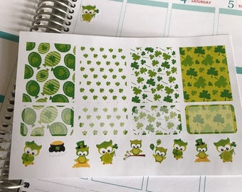 St. Patrick's Day Stickers Fit Erin Condren Planner Stickers Full Box Half Box Stickers Holiday Stickers