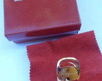 Vintage Ferragamo Scarf Ring Vara Buckle Designer Scarf Ring Signature Scarf Ring Gold Plated Scarf Ring Scarf Ferragamo Scarf Vintage 80s