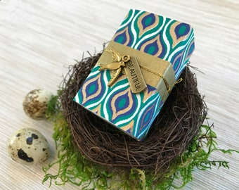 Rare Bird Message Box/Gift Box with Wooden Message Spool and fabric gift bag
