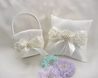 White Wedding Ring Pillow and Flower Girl Basket Set Shabby Chic Vintage Ivory and Cream Custom Colors too