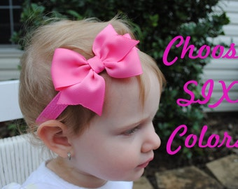 Baby Girl Bow Gift Set - Set of 6 Baby Headbands - 3 Inch Hair Bow on Soft Band - Baby Bow Head Band - Choose Colors - Bow for Infant Photo