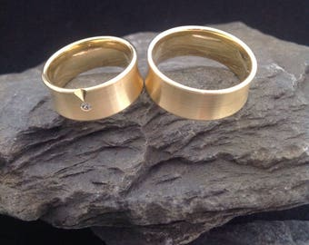 Wedding rings made of gold 585er with diamond