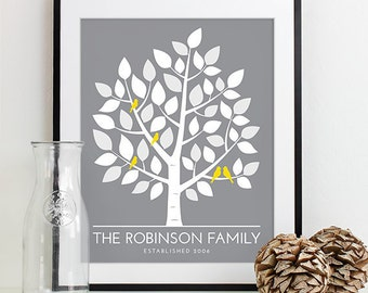Couple Christmas Gift for Family Tree Print, First Home Gift for Housewarming, Yellow and Gray Bedroom Art Wall Decor d5