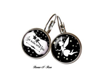 """Child girl """"I'm a fairy"""" earrings cabochon steel gift accessory"""