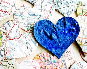 50 Map Heart Seed Bomb Paper Flower Seed Wedding Favor Hearts - Two Inches - Plantable Paper - Colorful Assortment