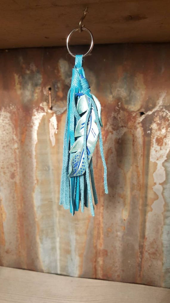 Leather Feather Key Chain in Silver Blue and Turquoise