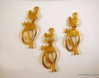 SALE - 10 Unplated Brass Cat Charm Pendant Drop LF/CF 21.5x7.5mm - 10 pc - DC3006-UN10-M