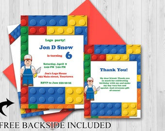 Custom Building Blocks Birthday party Invitation, Thank you Cards, Colorful Blocks Invitation, Bricks Birthday Invitation ;2000059