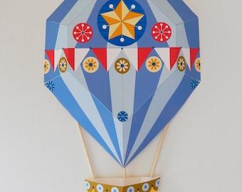 Blue, Hot Air Balloon, paper craft