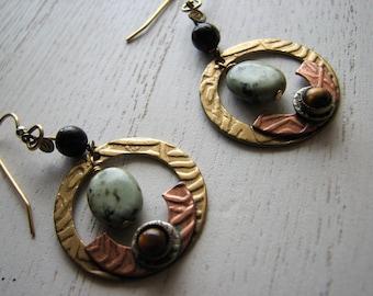 Mixed Metal Earrings - Bohemian Dangle Tigers Eye Gemstone African Turquoise Geometric