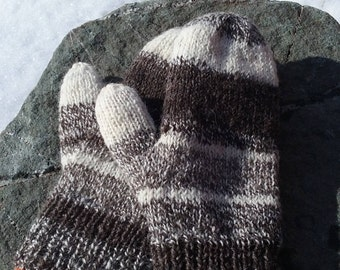 Hand Spun Natural Color Lined Mittens-Women's Size Small-Medium