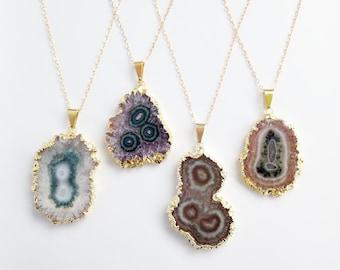 Amethyst Slice Necklace - Long Gold Filled Necklace - OOAK