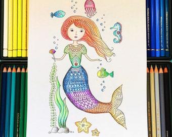 Mermaid Adult Coloring Page download, mermaid coloring page, adult coloring page, Kids coloring page download, Printable coloring page