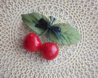 Cherry Hairclip . Retro Rockabilly Pinup Barrette with Juicy Red Cherries & Black Bow