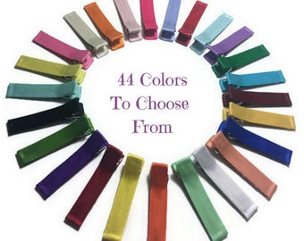 25 Satin Lined Alligator Clips, 45mm, No Slip Hair Clips, Satin Hair Clips, Lined Hair Clips, Single, Double Prong, Fully, Partially Lined