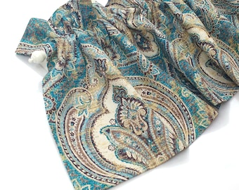 SPLENDID Valance Curtains Teal Turquoise Gold Tan Brown Cream Paisley 43 inches wide Kitchen Curtains Kitchen Valances Window Valance Eva