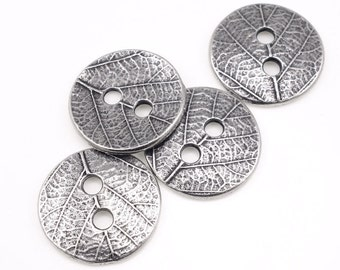 Leaf Buttons Antique Pewter Dark Silver Button Findings - TierraCast Pewter Buttons - Woodland Fall Autumn Jewelry Supplies (PF522)