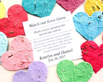 100 Medium Size Plantable Paper Hearts Wedding Favors with Flower Seeds - 2 inch size - Baby Shower Adoptions Memorials Etc
