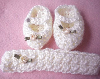 Crochet Maryjanes Headband Newborn Girl 0 3 mo Silk Rose accent