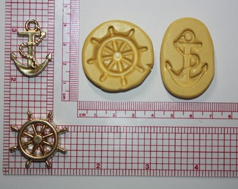 Nautical Silicone Mold  Anchor Ship Wheel Chocolate Fondant Candy Flexible Cookie Decorating Cake Decorating Resin Mold Polymer Clay
