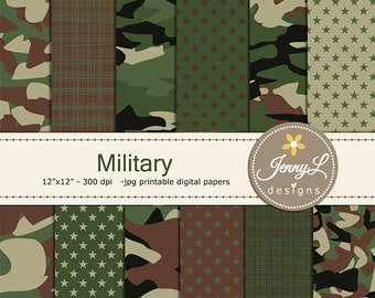 50% OFF Military Camouflage Digital Papers, Army for digital scrapbooking, invitation, cake topper, planner