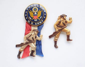 Two Very Rare WWII Early Plastics Combat Soldier Military Memorabilia Sweetheart Pins