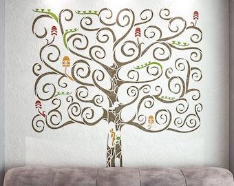 Fantasy Tree Stencil For Walls -  Large Tree Wall Stencil - StencilsLAB Wall Stencils