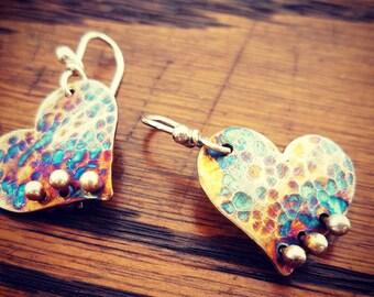Heart earrings hammered heart earrings