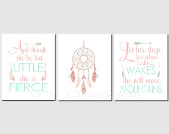 And though she be but little, Let her sleep, Toddler Girl Wall Art, Dreamcatcher, Baby Girl Nursery Art, Tribal, Printable Art, Set of 3