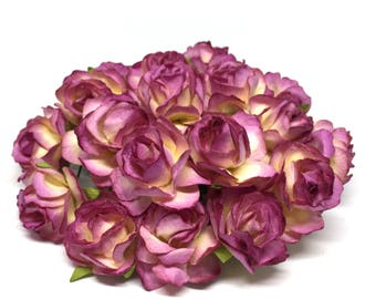 Purple And Cream Classic Mulberry Paper Roses Cr045