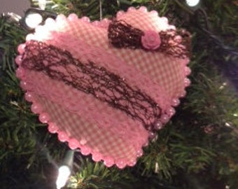 Pink Checked Heart