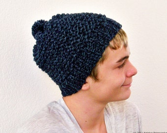 Knit Hat Men, Knit Hat with Pom Pom Hat, Mens Slouchy Beanie Men, Mens Knit Beanie, Slouchy Knit Hat Men, Mens Beanie Hat Mens Slouch Beanie