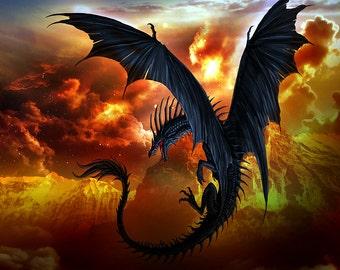 Dragon Cross Stitch Pattern Dragon in Flight 14ct. Aida Cloth 50 Colors