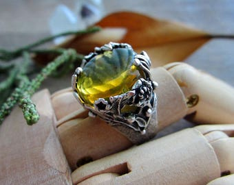 Gorgeous floral ring with natural baltic amber. Adjustable size. Antique Silver Plated Brass.