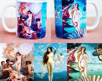Artistic ceramic coffee mug Birth of Venus.