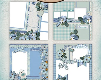 Digital Scrapbooking, Baby, Boy, Premade Layouts, Quick Pages: Look At Him