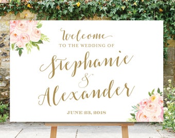 Landscape Wedding Welcome Sign, Wedding Welcome Sign, Digital File, Printable, Blush Pink Flowers, The Bella