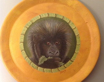 Monkey decorative plate hand painted on bamboo wood
