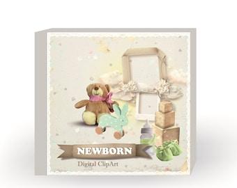 NEWBORN - Digital ClipArt, Graphics for Scrapbook (instant download)